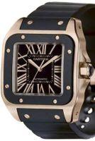Santos de Cartier, наследники исторических часов Сантоса Дюмона. Корпус и циферблат модели 2008 года выполнен из 18-каратного розового золота. Водонепроницаемость до 100 метров (давление до 10 бар).