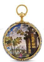 Золотые карманные часы с эмалью примерно 1700 года, вид спереди - крышка (LES DEUX FRERES HUAUT PINTRE DE SON.A.E DE B. A BERLIN, механизм MARTINEAU, LONDON) Проданы за $ 21,070, на Important Watches 28 ноября 2012 в Гонгонге
