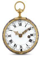 Золотые карманные часы с эмалью примерно 1700 года